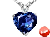 Tommaso Design™ Heart Shape 8mm Simulated Tanzanite And Genuine Diamond Heart Pendant