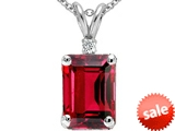 Tommaso Design™ Emerald Octagon Cut 9x7mm Created Ruby and Diamond Pendant