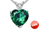 Tommaso Design™ Heart Shape 8mm Simulated Emerald And Genuine Diamond Pendant style: 305893
