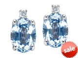 Tommaso Design™ Oval 8x6mm Simulated Aquamarine and Genuine Diamond Earrings style: 305896