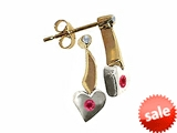Tommaso Design™ Two Tone Genuine Ruby and Diamond Heart Shape Hanging Dangling Earrings style: 305898