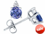 Tommaso Design™ Round Genuine Tanzanite and Diamond Earrings