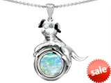 Original Star K™ Dog Lover Pendant with October Birthstone Round 7mm Created Opal