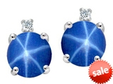 Tommaso Design™ Round Created Star Sapphire and Genuine Diamond Earrings Studs style: 305906