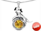 Original Star K™ Dog Lover Pendant with November Birthstone Round 7mm Genuine Citrine