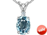 Tommaso Design™ Oval 9x7mm Simulated Aquamarine and Genuine Diamond Pendant