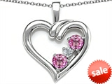 Original Star K™ Open Heart 3 Stone Pendant with Created Pink Sapphire