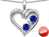Original Star K™ Open Heart 3 Stone Pendant with Created Blue Sapphire
