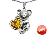 Original Star K™ Love Bear Hugging Birthstone of November 8mm Heart Shape Genuine Citrine