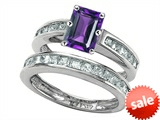 Original Star K™ Emerald Cut Genuine Amethyst Wedding Set style: 305918