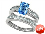 Original Star K™ Emerald Cut Genuine Blue Topaz Wedding Set style: 305920
