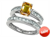 Original Star K™ Emerald Cut Genuine Citrine Wedding Set style: 305921