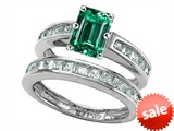 Original Star K™ Emerald Cut Simulated Emerald Wedding Set style: 305924