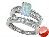 Original Star K™ Emerald Cut Simulated Opal Wedding Set style: 305925