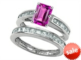 Original Star K™ Emerald Cut Created Pink Sapphire Wedding Set