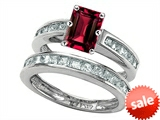 Original Star K™ Emerald Cut Created Ruby Wedding Set
