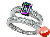 Original Star K™ Emerald Cut Mystic Rainbow Topaz Wedding Set style: 305929