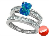Original Star K™ Emerald Cut Simulated Blue Opal Wedding Set style: 305931