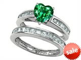 Original Star K™ Heart Shape Simulated Emerald Wedding Set style: 305932