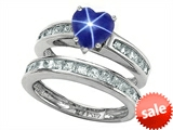 Original Star K™ Heart Shape Created Star Sapphire Wedding Set