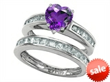 Original Star K™ Heart Shape Genuine Amethyst Wedding Set