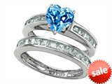 Original Star K™ Heart Shape Genuine Blue Topaz Wedding Set
