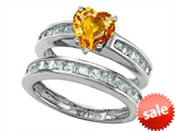 Original Star K™ Heart Shape Genuine Citrine Wedding Set style: 305939