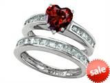 Original Star K™ Heart Shape Genuine Garnet Wedding Set style: 305940