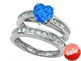 Original Star K™ Heart Shape Simulated Blue Opal Wedding Set style: 305942
