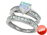 Original Star K™ Heart Shape Created Opal Wedding Set style: 305943