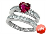 Original Star K™ Heart Shape Created Ruby Wedding Set style: 305945
