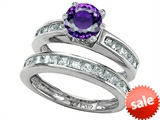 Original Star K™ Round Genuine Amethyst Wedding Set style: 305950