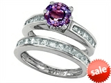 Original Star K™ Round Simulated Alexandrite Wedding Set style: 305951
