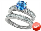 Original Star K™ Round Genuine Blue Topaz Wedding Set style: 305954