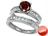Original Star K™ Round Genuine Garnet Wedding Set style: 305956