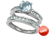 Original Star K™ Round Simulated Aquamarine Wedding Set style: 305957