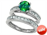 Original Star K™ Round Simulated Emerald Wedding Set