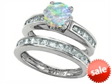 Original Star K™ Round Created Opal Wedding Set style: 305960