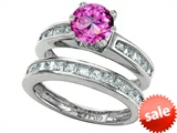 Original Star K™ Round Created Pink Sapphire Wedding Set style: 305961