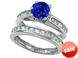 Original Star K™ Round Created Sapphire Wedding Set style: 305962