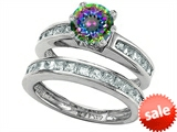 Original Star K™ Round Rainbow Mystic Topaz Wedding Set style: 305963