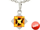 Tommaso Design™ 6mm Square Genuine Citrine Pendant