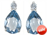 Original Star K™ Pear Shape 8x6 mm Simulated Aquamarine Earring Studs