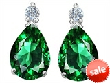 Original Star K™ Pear Shape 8x6 mm Simulated Emerald Earrings Studs style: 305974