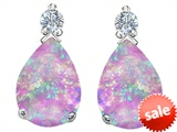 Original Star K™ Pear Shape 8x6 mm Created Pink Opal Earring Studs