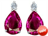 Original Star K™ Pear Shape 8x6 mm Created Pink Sapphire Earrings Studs style: 305977
