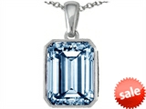 Original Star K™ Emerald Cut 10x8mm Simulated Aquamarine Pendant
