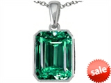 Original Star K™ Emerald Cut 10x8mm Simulated Emerald Pendant style: 305991