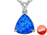 Original Star K™ Large 12mm Trillion Cut Created Blue Opal Pendant style: 305998
