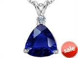 Original Star K™ Large 12mm Trillion Cut Created Blue Sapphire Pendant style: 306004